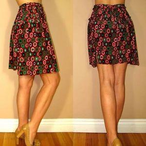 🆕 Missoni Silk Mini Skirt Logo Geometric Print 42